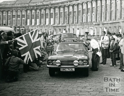 Prince Michael of Kent at the start of the Avon Motor Rally, Monarchy 1000, 6th July 1973, Bath