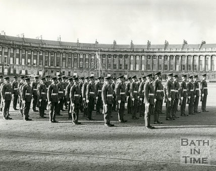 Royal Air Force and the Queen's colour squadron commemorating the Battle of Britain in a ceremony at the Royal Crescent, Bath 25 September 1974