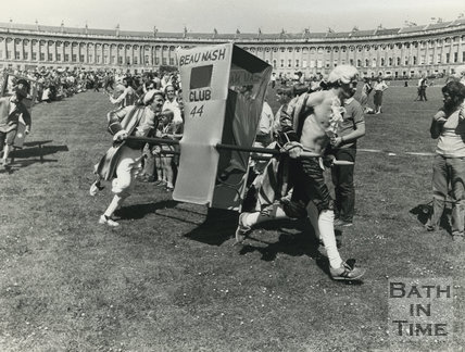 Sedan Chair Race in front of the Royal Crescent, Summer 1982, Bath