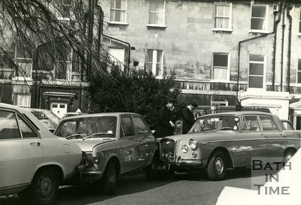A parking accident outside the Bath and Country Club, Queens Parade, Bath, c.1960s