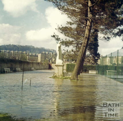 View of the Bath Floods from the convent on Pulteney Road, 1968