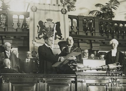 The Marquis of Bath being presented with freedom of Bath by the mayor in the concert hall of the Bath Pump Room, 20 June 1929