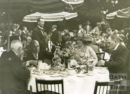 Lord Bath with the Mayor and the Mayoress having tea at the garden party in the Royal Victoria Park, 1929