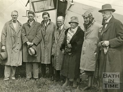 Sir Alan Cobham on Lansdown, Bath, with some of those who made the first flight, c.1930s?