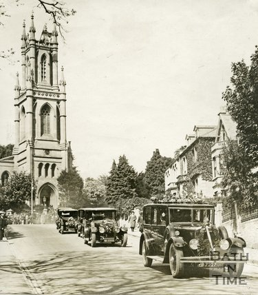 Councillor Major General Bradshaw's Funeral Procession leaving St Stephen's Church, Lansdown, Bath, September 1923