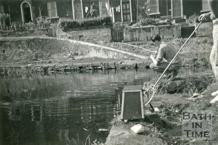 Fishing on the Kennet and Avon Canal in front of Waterloo Buildings, Widcombe, Bath 1958