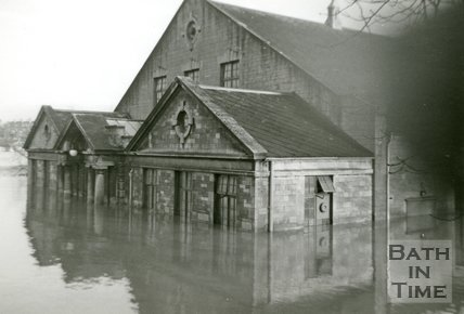 The Bath Pavilion during the Bath Flood of 1960