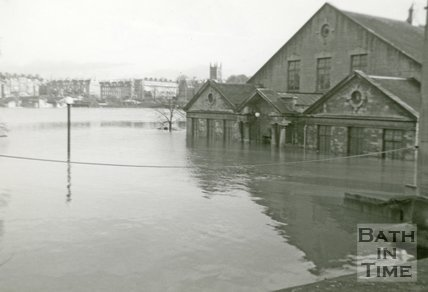 The Bath Pavilion during the Bath Flood of 1960