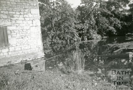 Fishing on the First Pond on the Kennet and Avon Canal at Widcombe, Bath c.1959