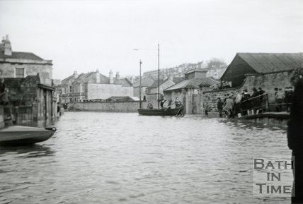 Pulteney Road during the Bath Flood of December 1960