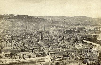 View from Beechen Cliff looking towards Avon Street, Bath c.1864