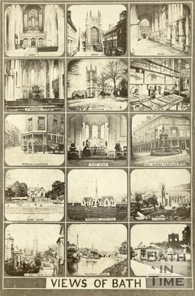 A multi-view carte de visite showing 15 views of Bath c.1863