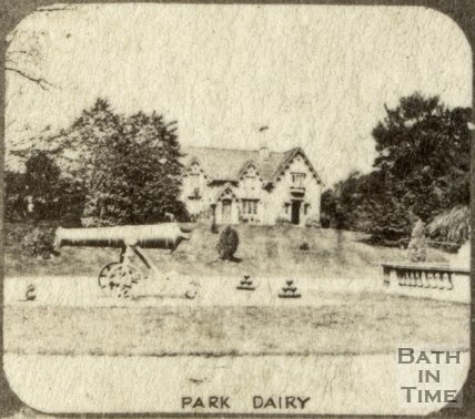 Cannons and the dairy at the entrance to Royal Victoria Park, Bath c.1863