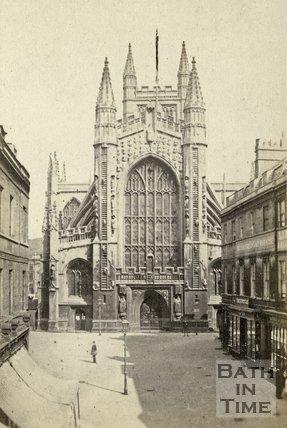 The west front of Bath Abbey and Abbey Church Yard, Bath c.1866