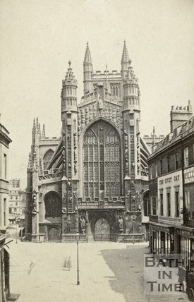 West front of Bath Abbey and Abbey Church Yard, Bath c.1868
