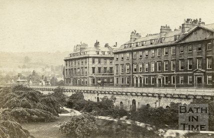 North Parade from the Institution Gardens, Bath 1867