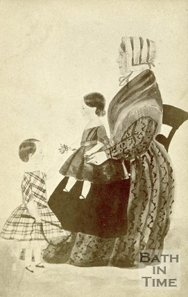 Watercolour of a lady with her two children c.1868