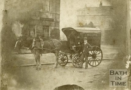 Delivery cart with horse on the corner of Vane Street and Edward Street, Bath c.1868
