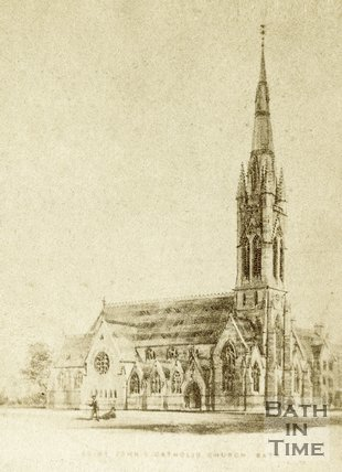 Copy of a drawing of St. John's Roman Catholic Church, Bath c.1868