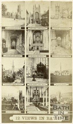 A multi-view carte de visite showing 12 views of Bath c.1868