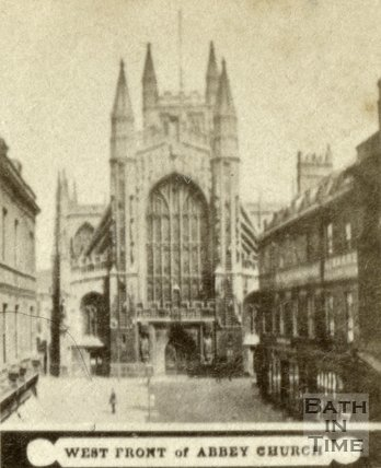 West front of Bath Abbey from Abbey Church Yard, Bath c.1868