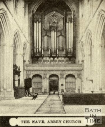 The nave and organ, Bath Abbey, Bath c.1868
