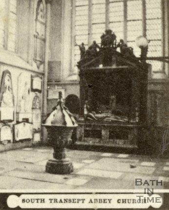 South Transept and font, Bath Abbey, Bath c.1868