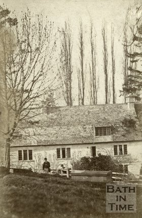 Unknown house behind a burial ground near Bath? c.1870