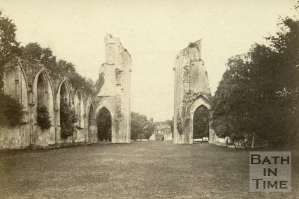 The ruined Glastonbury Abbey c.1865
