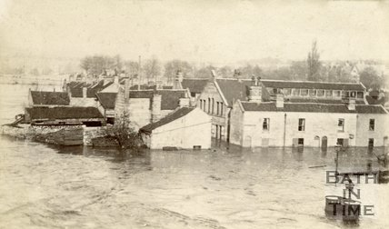 Flooded buildings in the Dolemeads during the Bath floods, possibly 1866 or 1867