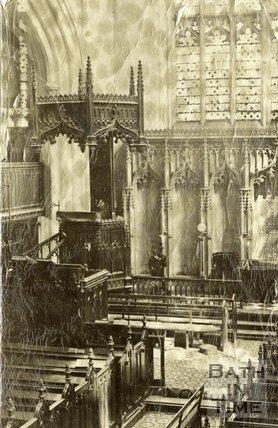 Inside an unidentified church, probably in Bath, c.1870