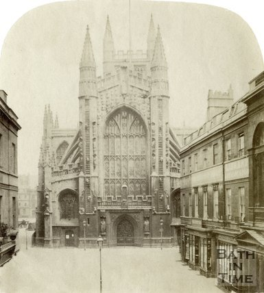 The west front of Bath Abbey viewed from Abbey Church Yard, Bath c.1860