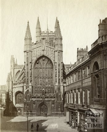 The west front of Bath Abbey from Abbey Church Yard, Bath c.1867