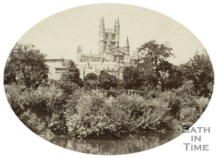 Bath Abbey and Literary and Scientific Institution viewed from the River Avon, Bath c.1880