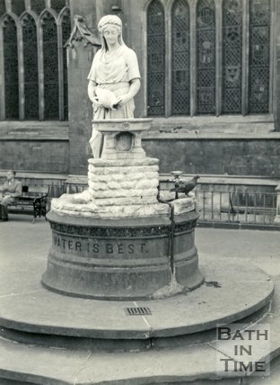 The Rebecca Temperance fountain beside Bath Abbey, Bath c.1960