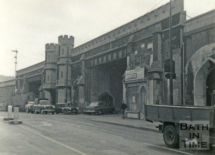 Brunel's railway viaduct and Lower Bristol Road, Bath c.1960
