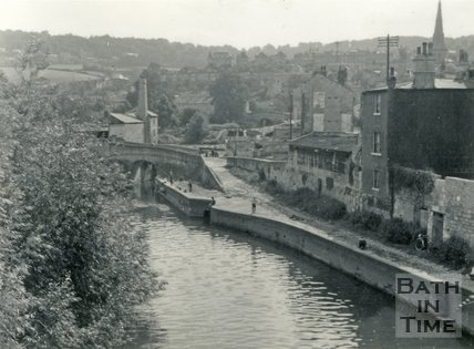 The River Avon and rear of buildings in Claverton Street, Widcombe, Bath c.1960