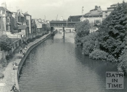 Fishing on the banks of the River Avon behind Claverton Street, Widcombe, Bath c.1960