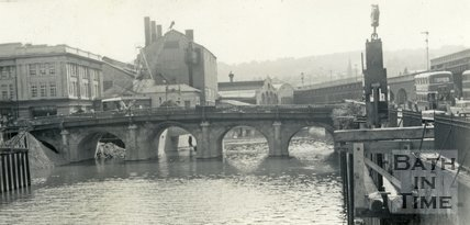 The demolition of the Old Bridge, Bath 1964