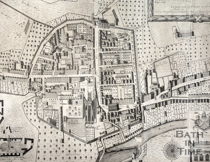 Detail from Joseph Gilmore Map of the City of Bath, 1694-1717