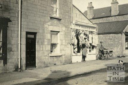 F Maggs, butchers in Sydenham Terrace, Combe Down, near Bath, c.1920s?