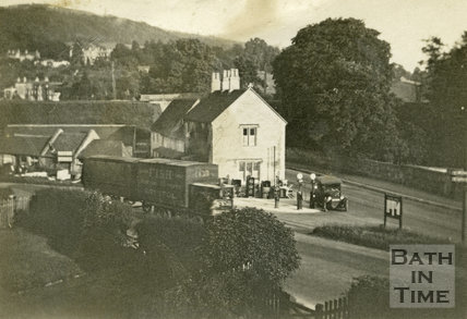 Petrol station and cafe at the junction between the A4 Box Road and roads to Bath and Bathford, June 1929