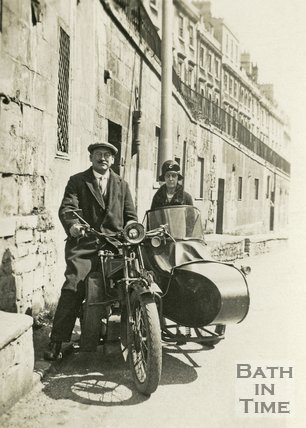 A motorcycle sidecar combination on London Road below Walcot Parade, Bath c.1920
