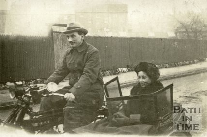 A couple on their BSA motorcycle sidecar combination at an unidentified location in Bath? c.1930