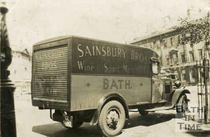 Sainsbury Bros, wine and spirit merchants delivery van, Laura Place, Bath c.1930