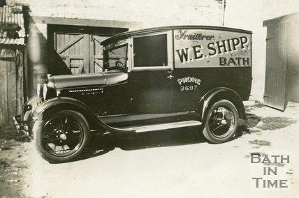 W.E. Shipp, fruiterer delivery van in its yard in Bath c.1930