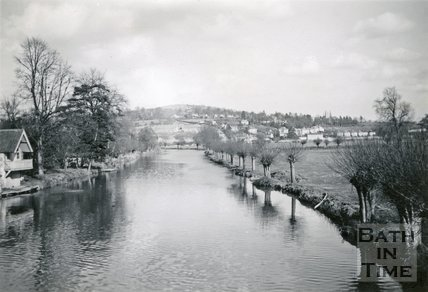 Looking towards Bannerdown from Batheaston toll bridge 1948