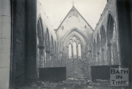 The ruined interior of St. Andrew's Church, Bath 1948