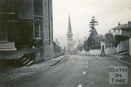 View down Widcombe Hill, Bath, 1948
