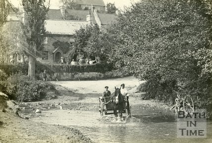 A cart crossing the ford, Wellow c.1930